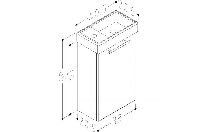 Vonios spintelės su praustuvu Kame Quadro, QA40-3/P