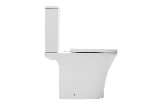 Pastatomas WC Swiss Aqua Technologies, Brevis Rimfree, su lėtai nusileidžiančiu dangčiu