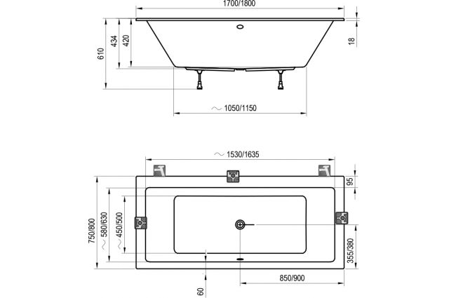 Akrilinė vonia Ravak Formy 01 Slim, 170 x 75 sniego baltumo