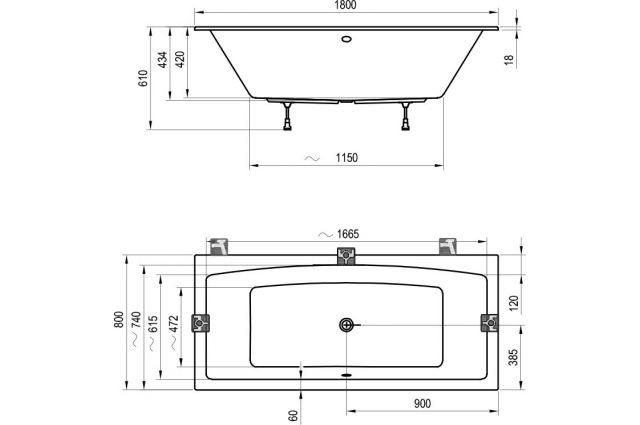 Akrilinė vonia Ravak Formy 02 Slim, 180 x 80 sniego baltumo