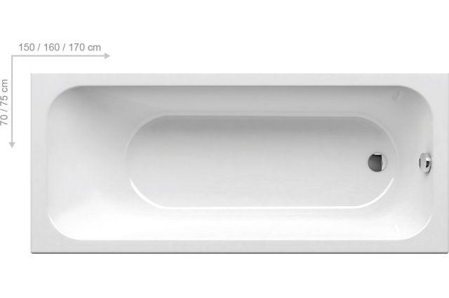 Stačiakampė vonia Ravak Chrome Slim, 170x75 sniego baltumo