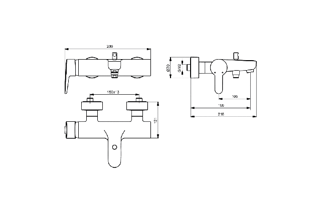 Vonios maišytuvas Ideal Standard, Connect Blue
