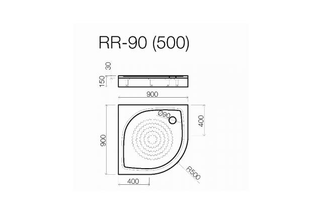 Akmens masės dušo padėklas Vispool, RR-90 (R500)