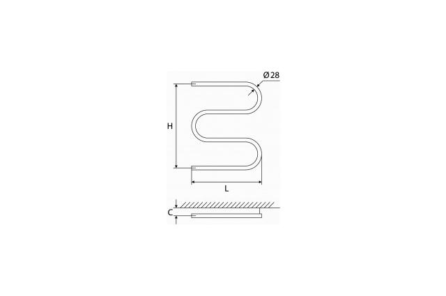 Vandeninis rankšluosčių džiovintuvas-gyvatukas Elonika, nerūdijančio plieno, EN 470 S