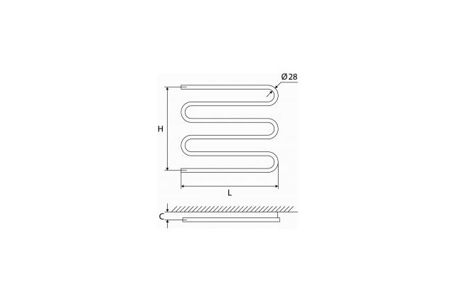 Vandeninis rankšluosčių džiovintuvas-gyvatukas Elonika, žalvarinis, EŽ 600 S