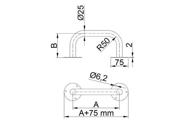 Stacionari rankena neįgaliesiems Corrado, 900 mm, nerūdijančio plieno