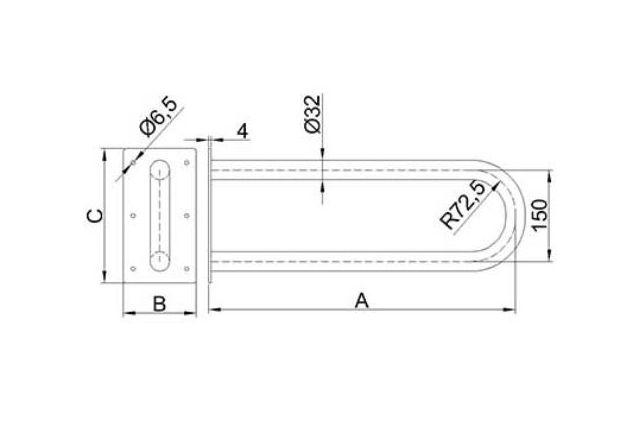 Atrama neįgaliesiems Corrado, stacionari, 600 mm, balta