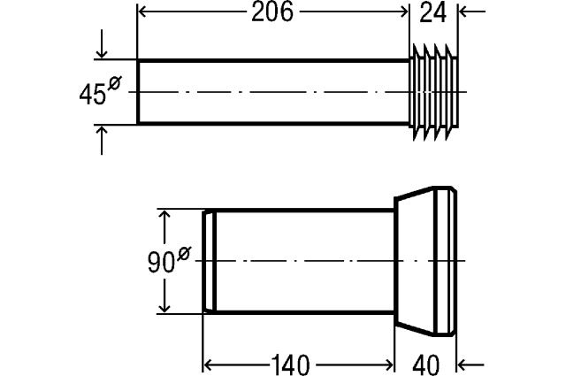 WC rėmo pajungimo komplektas, DN 90x180