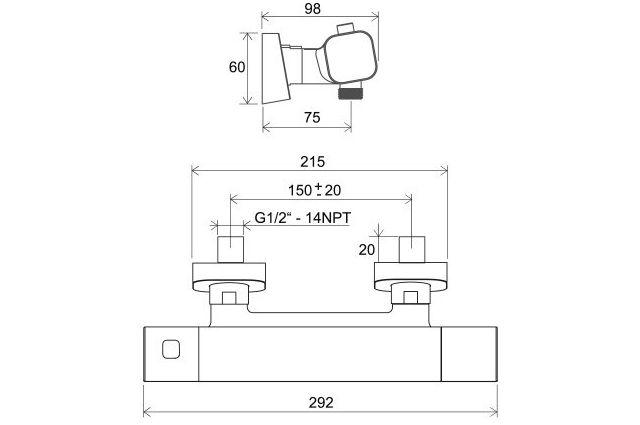 Sieninis termostatinis dušo maišytuvas Ravak 10° Free, TD F 033.00/150