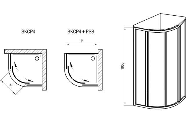 Pusapvalė dušo kabina Ravak Supernova, SKCP4-80 195, juoda+plastikas Pearl