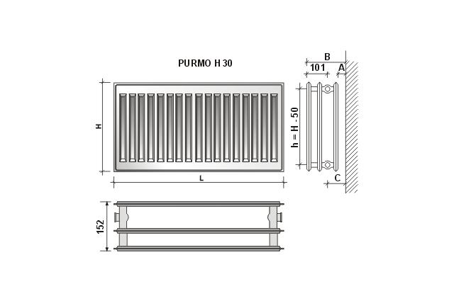 Radiatorius PURMO H 30, 500-900, pajungimas šone
