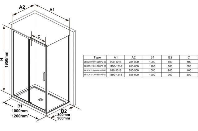 Stacionari sienelė Ravak Blix Slim, BLSPS-80 blizgus+transparent