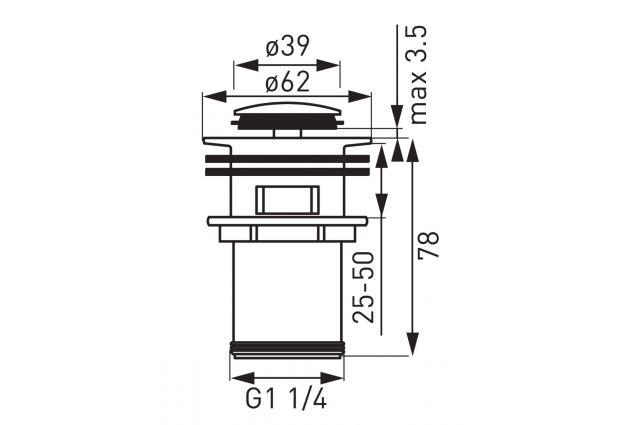 Praustuvo sifono vožtuvas Ferro, juodas/chromuotas S283-BL-B