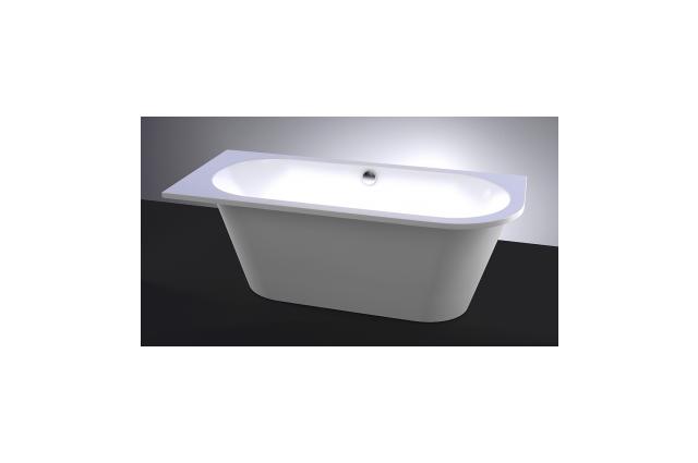 Akmens masės vonia Vispool Evento, 175x75 cm apvalinta dešinė pusė balta