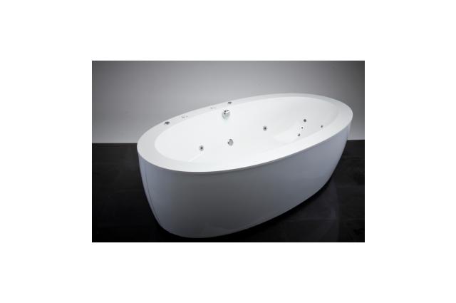 Akmens masės vonia Vispool Festa, 204x110 balta su apdailomis