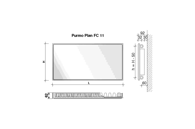 Radiatorius PURMO FC 11, 500-900, pajungimas šone