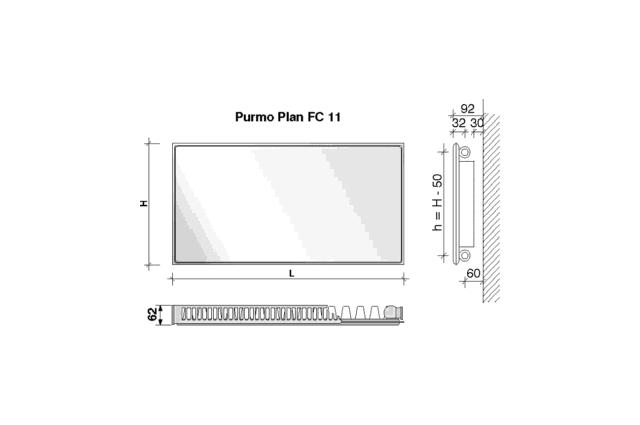 Radiatorius PURMO FC 11, 600-1600, pajungimas šone