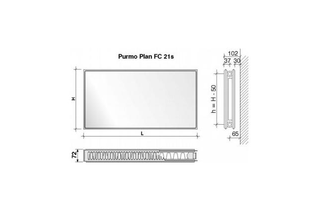 Radiatorius PURMO FC 21s, 900-1400, pajungimas šone