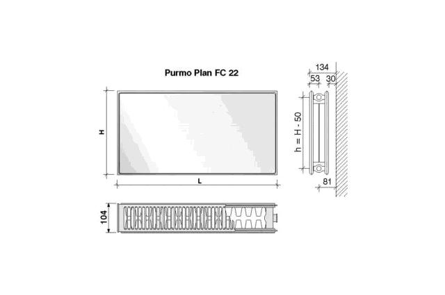 Radiatorius PURMO FC 22, 600-1100, pajungimas šone