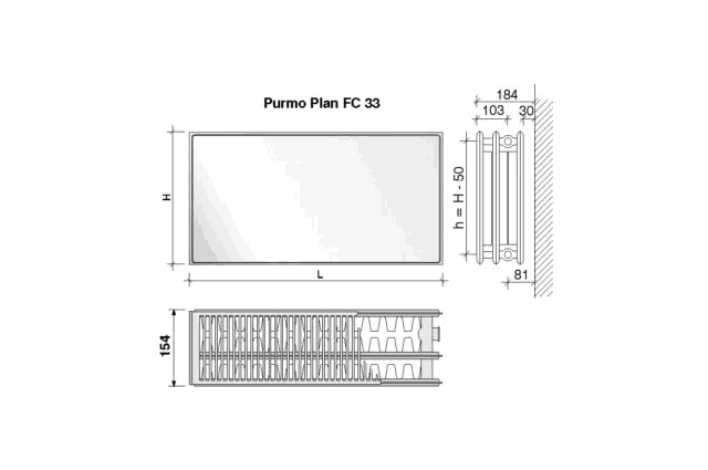 Radiatorius PURMO FC 33, 500-900, pajungimas šone