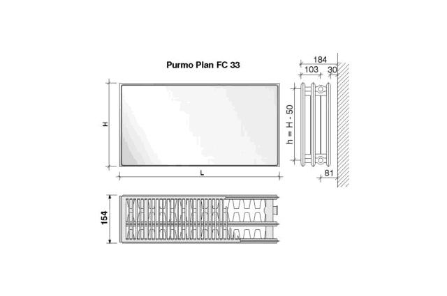 Radiatorius PURMO FC 33, 500-1200, pajungimas šone