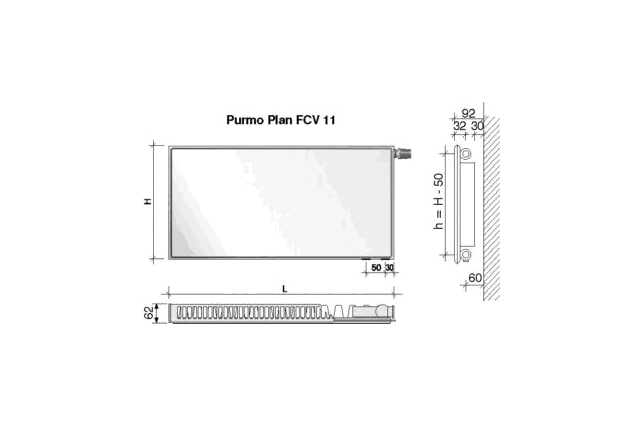 Radiatorius PURMO FCV 11, 900-1100, pajungimas apačioje