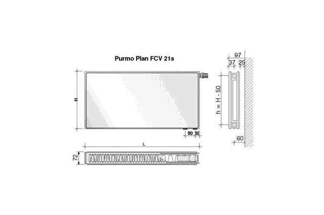 Radiatorius PURMO FCV 21s, 600-1000, pajungimas apačioje