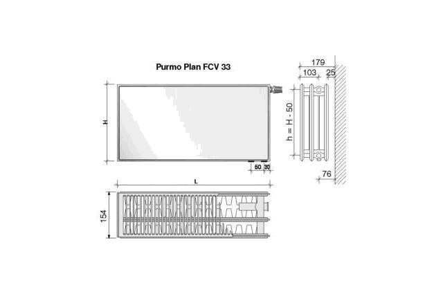 Radiatorius PURMO FCV 33, 500-2000, pajungimas apačioje
