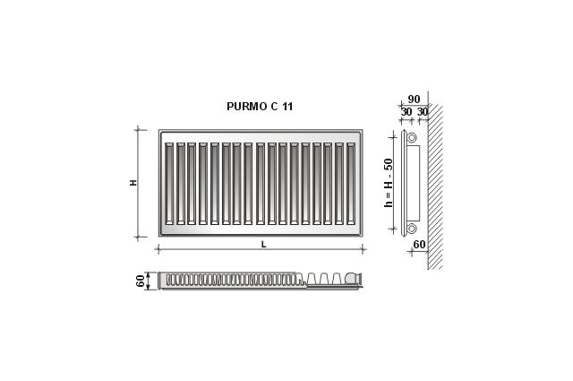 Radiatorius PURMO C 11, 600-800, pajungimas šone