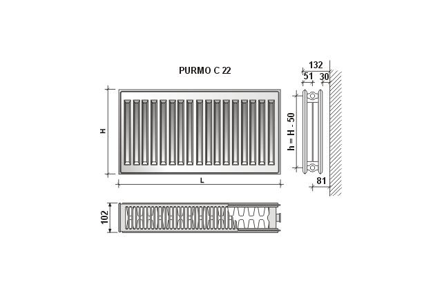 Radiatorius PURMO C 22 , 450-2000, pajungimas šone