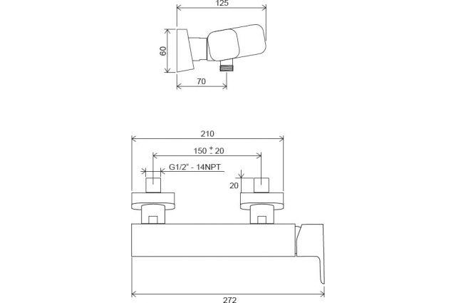 Sieninis dušo maišytuvas Ravak 10° Free, TD F 032.00/150