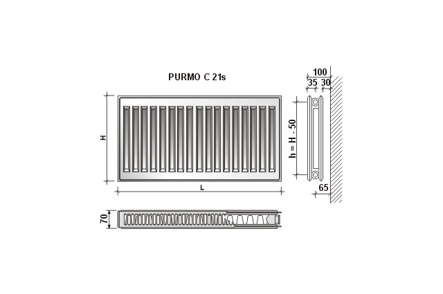 Radiatorius PURMO C 21s , 450-1600, pajungimas šone