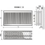 Radiatorius PURMO C 33 , 300-900, pajungimas šone