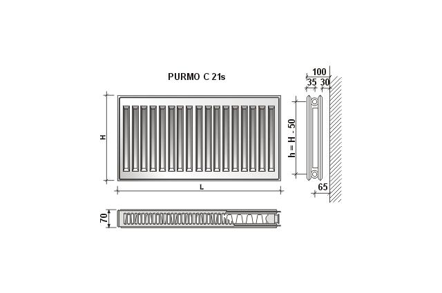 Radiatorius PURMO C 21s , 900-2600, pajungimas šone