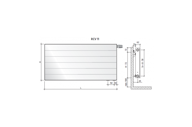 Radiatorius PURMO RCV 11 , 600-1000, pajungimas apačioje