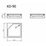 Akmens masės dušo padėklas Vispool, KD-90 kvadratinis