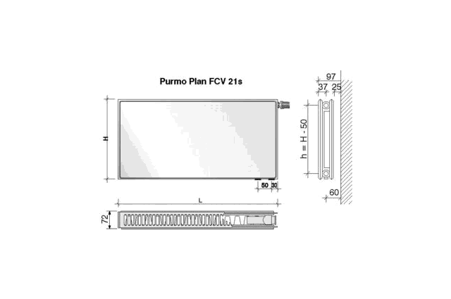 Radiatorius PURMO FCV 21s , 500-800, pajungimas apačioje