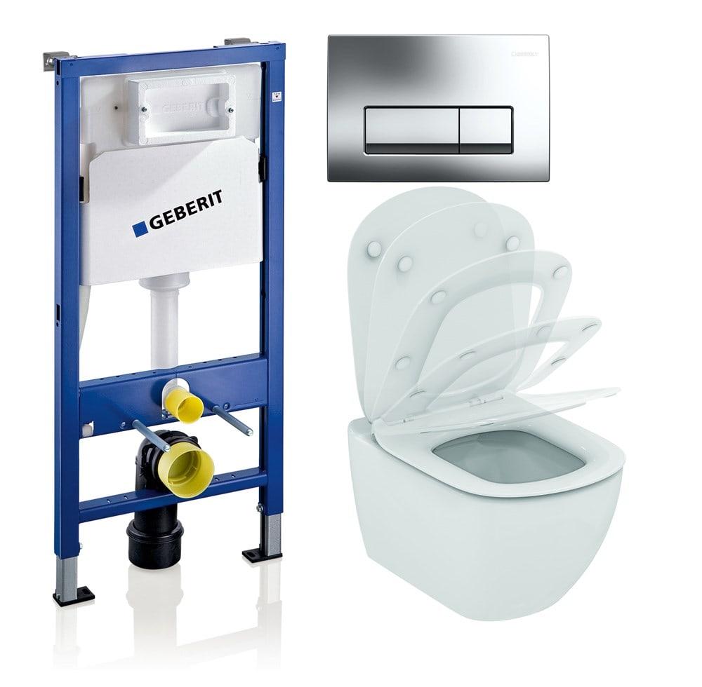 Jaukurai Geberit rėmo komplektas su WC Ideal Standard Tesi AquaBlade