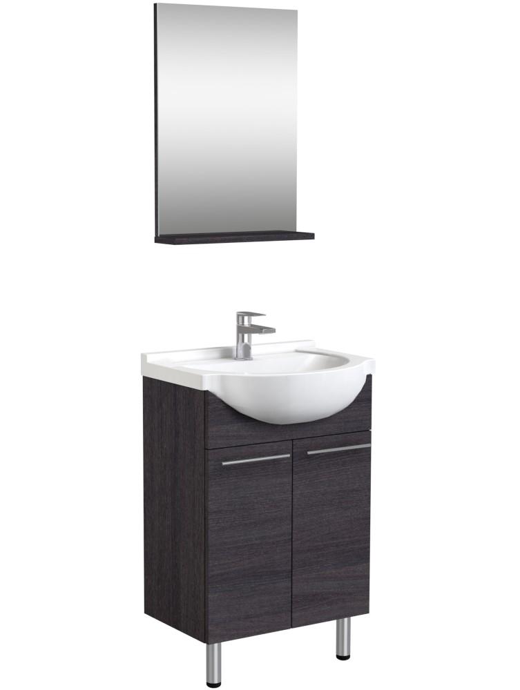 Vonios kambario baldų komplektas, 3in1 50 cm, juodo ąžuolo spalva