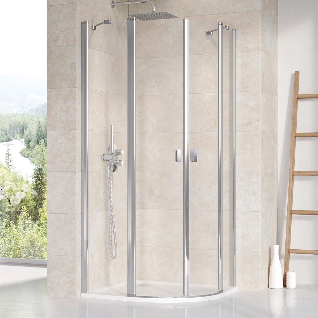 Pusapvalė dušo kabina Ravak Chrome, CSKK4-90 blizgi+Transparent