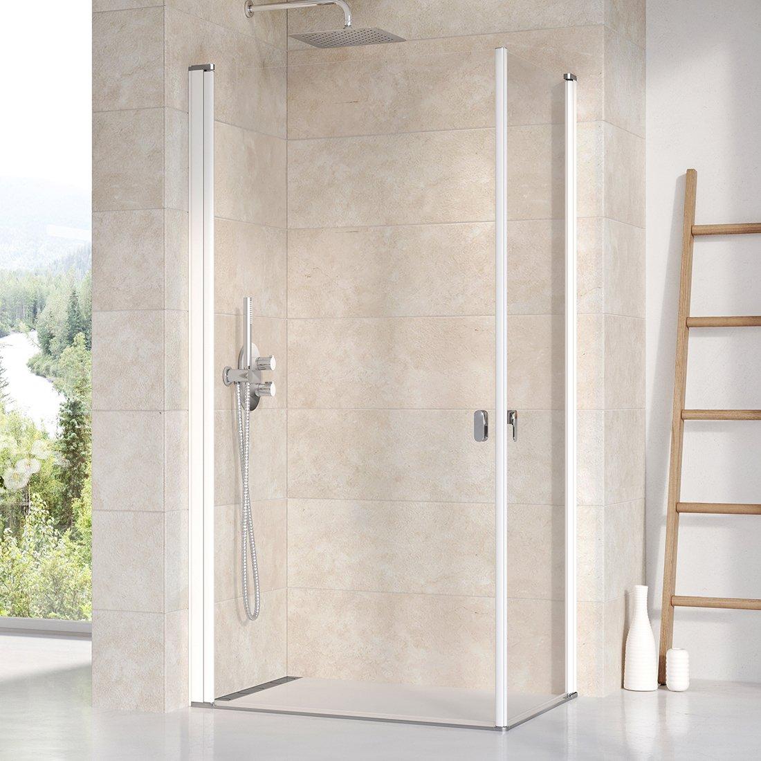 Stačiakampės dušo kabinos sienelė Ravak Chrome, CRV1-80, balta+stiklas Transparent