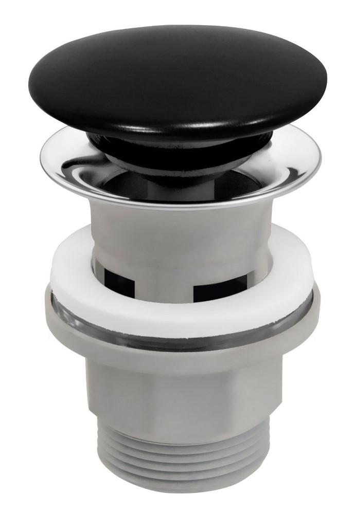 Praustuvo sifono vožtuvas Ferro Rotondo, juodas/chromuotas