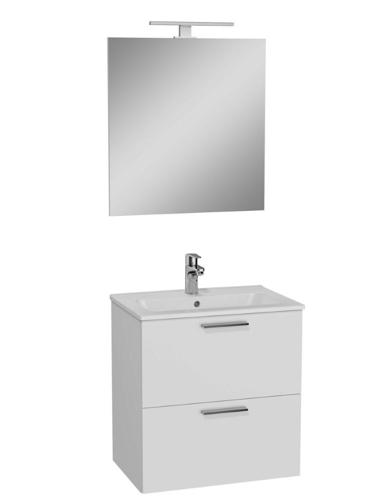 Vonios kambario baldų komplektas Vitra Mia, 60 cm baltas