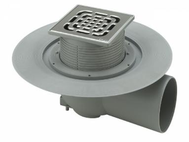 Horizontalus reguliuojamo aukščio trapas su nerūdijančio plieno grotelėmis ir sandarinimo žiedu VIEGA, d 100