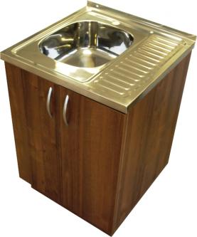 Virtuvinė spintelė uždedamai plautuvei, 60 cm, riešutas (be plautuvės)