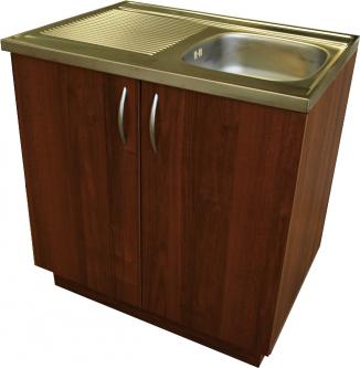 Virtuvinė spintelė uždedamai plautuvei, 80 cm, riešutas (be plautuvės)