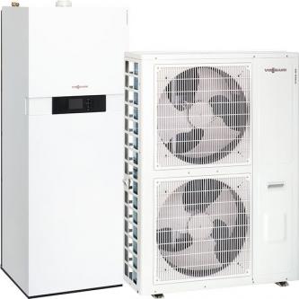 Hibridinis šilumos siurblys VIESSMANN Vitocaldens 222-F 19kW oras/vanduo/dujos su 7kW išoriniu bloku