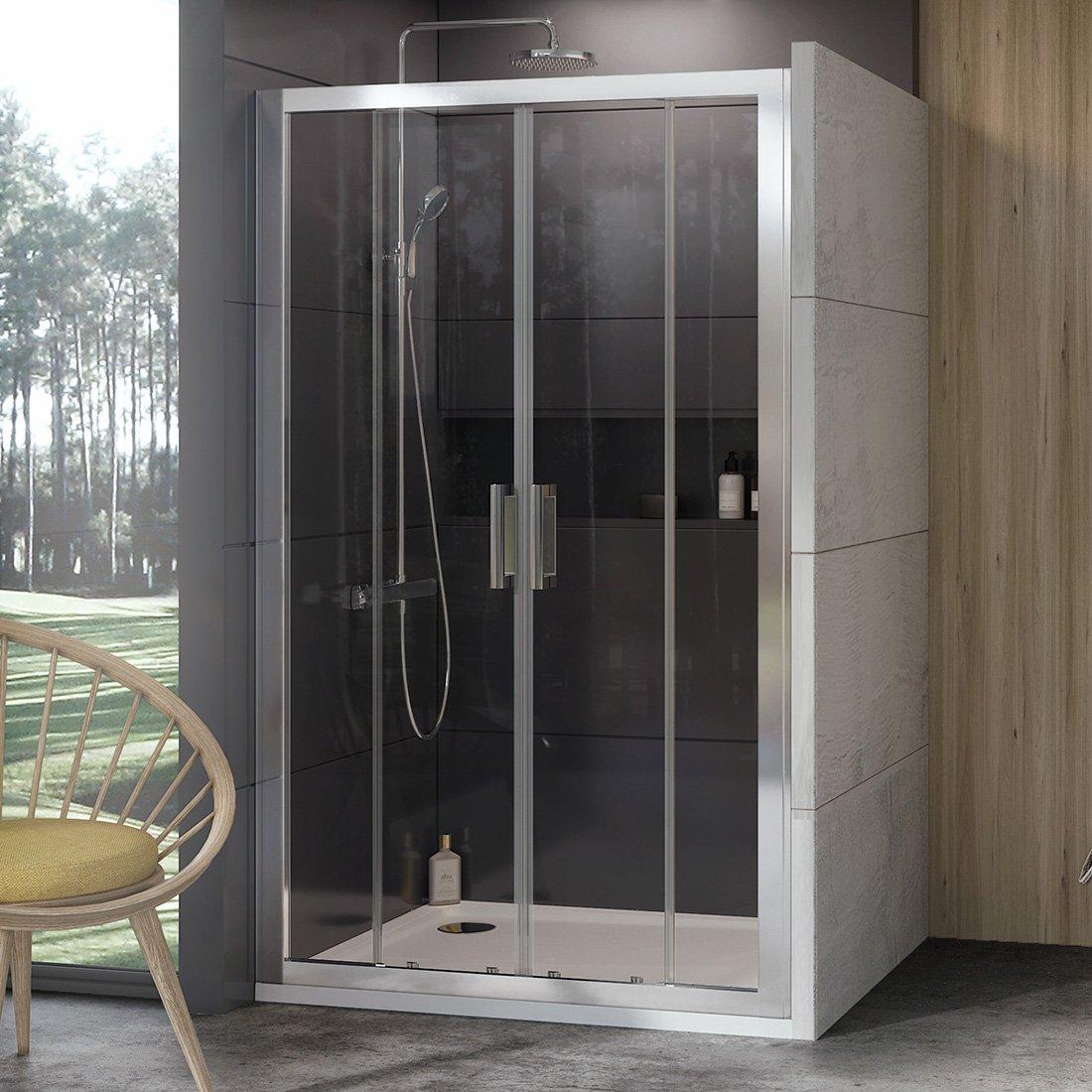 Stumdomos dušo durys Ravak 10°, 10DP4-140, satinas+Transparent