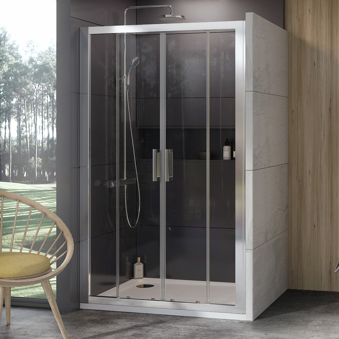 Stumdomos dušo durys Ravak 10°, 10DP4-180, satinas+Transparent
