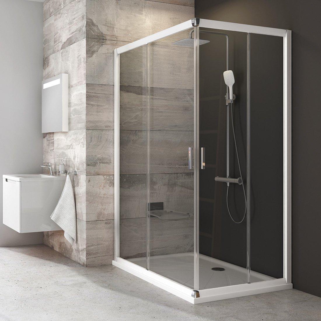 Stačiakampės dušo kabinos sienelė Ravak Blix, BLRV2K-80, balta+stiklas Transparent